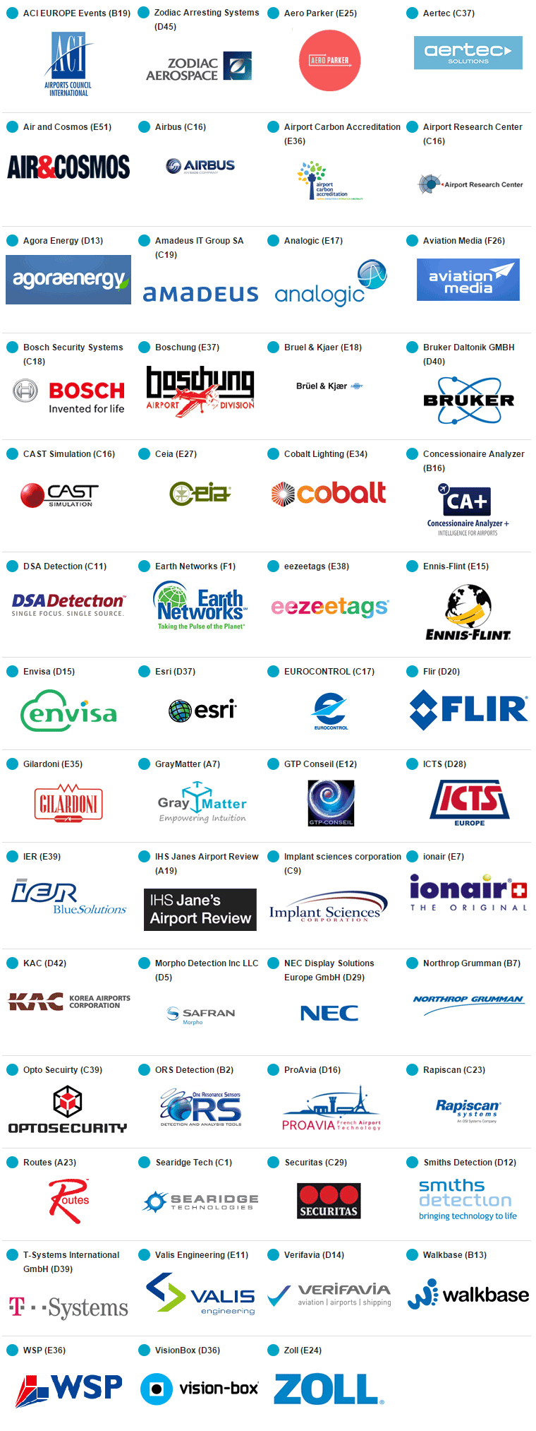 Airport Exchange 2015 - 2014 Exhibitors